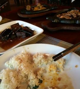 Menú en Red Dao House. En la foto se puede ver arroz, la berenjena, el pato y el cerdo
