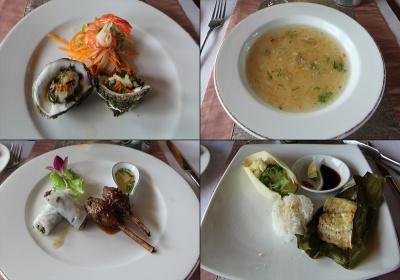Comida en el barco Aphrodite: ostras, sopa de cangrejo, rollitos y pescado en hoja platano