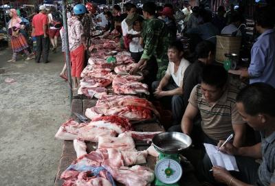 Venta de carne en el Mercado de Bac Ha