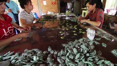 Fabrica artesanal de caramelos de coco en Delta del Mekong
