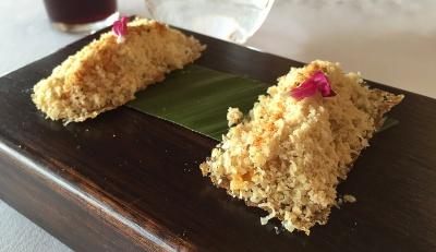 Gran Menú Cepa21 Primavera 2016. Crocant de pan de especias con chutney, frutos secos y foie